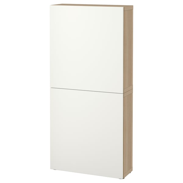 BESTÅ Wall cabinet with 2 doors, white stained oak effect/Lappviken white, 60x22x128 cm