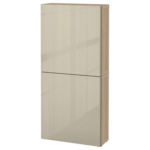 BESTÅ Wall cabinet with 2 doors, white stained oak effect/Selsviken high-gloss/beige, 60x22x128 cm