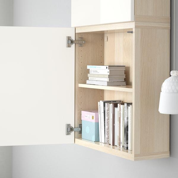 BESTÅ Wall cabinet with 2 doors, white stained oak effect/Selsviken high-gloss/white, 60x22x128 cm