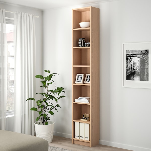 BILLY bookcase with height extension unit white stained oak veneer 40 cm 28 cm 237 cm 14 kg