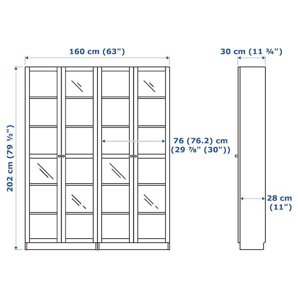 BILLY / OXBERG Bookcase, birch veneer/glass, 160x30x202 cm