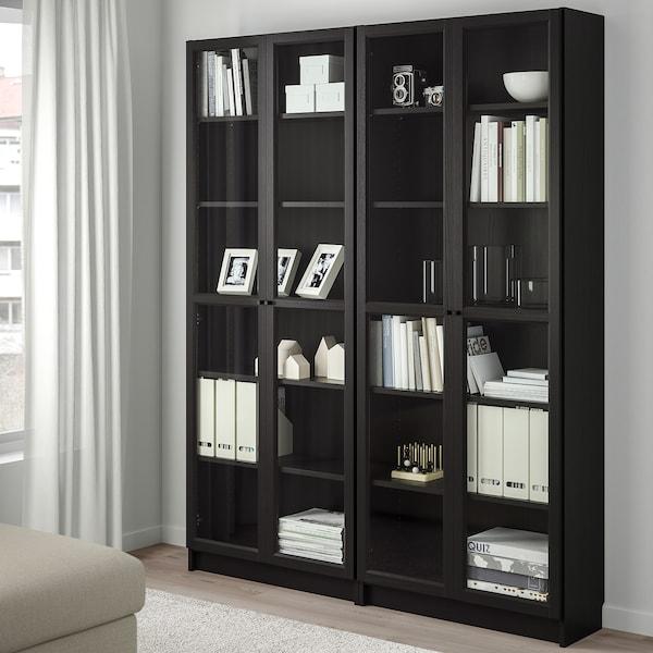 BILLY / OXBERG Bookcase, black-brown/glass, 160x30x202 cm