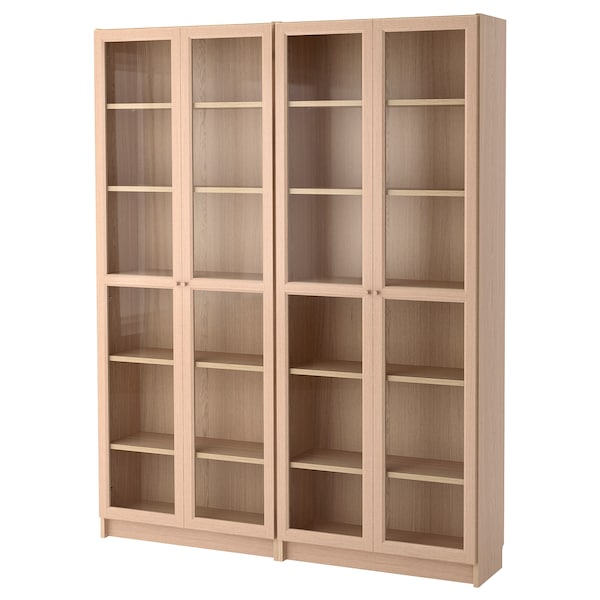 BILLY / OXBERG Bookcase combination/glass doors, white stained oak veneer/glass, 160x30x202 cm