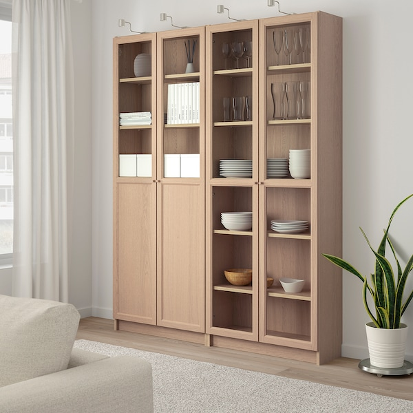 BILLY / OXBERG Bookcase with panel/glass doors, white stained oak veneer/glass, 160x30x202 cm