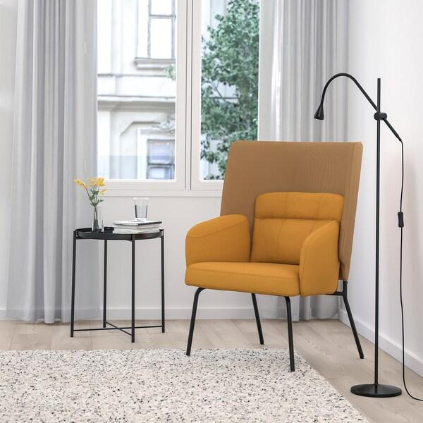 BINGSTA high-back armchair Vissle dark yellow/Kabusa dark yellow 70 cm 58 cm 101 cm 45 cm