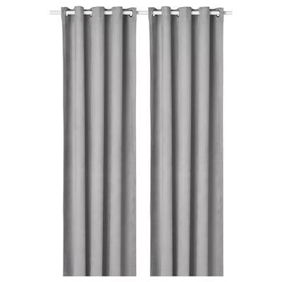 BIRTNA Block-out curtains, 1 pair, grey, 145x300 cm