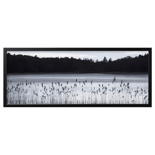 BJÖRKSTA Picture with frame, Woodland lake/black, 140x56 cm