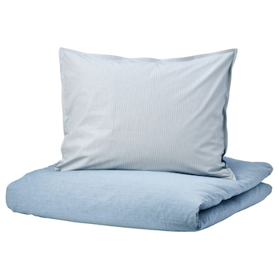 BLÅVINDA Quilt cover and pillowcase, light blue, 140x200/60x70 cm