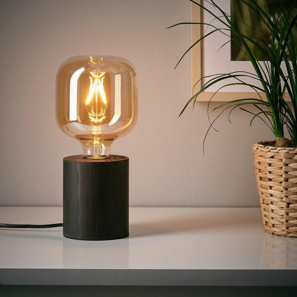 BLEKKLINT Table lamp, dark brown wood, 11 cm