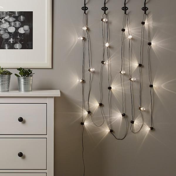 BLÖTSNÖ LED lighting chain with 24 lights, indoor black