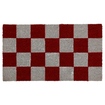 BOLDERSLEV Door mat, red/white, 40x70 cm