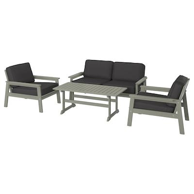 BONDHOLMEN 4-seat conversation set, outdoor grey stained/Järpön/Duvholmen anthracite