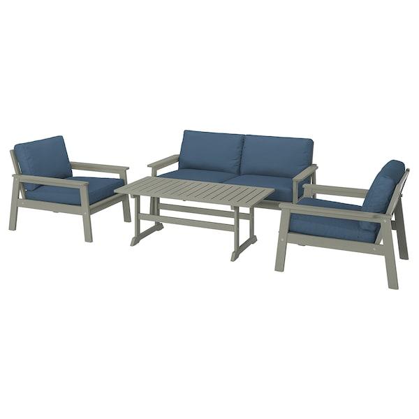 BONDHOLMEN 4-seat conversation set, outdoor grey stained/Frösön/Duvholmen blue