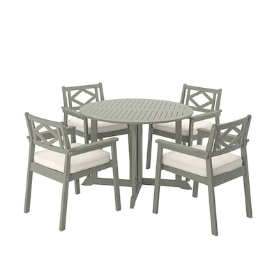 BONDHOLMEN table+4 chairs w armrests, outdoor grey stained/Järpön/Duvholmen white