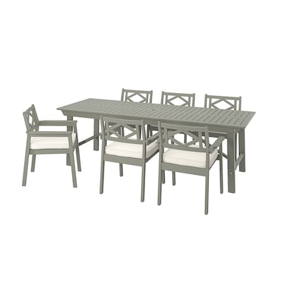BONDHOLMEN table+6 chairs w armrests, outdoor grey stained/Järpön/Duvholmen white