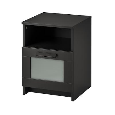 BRIMNES Bedside table, black, 39x41 cm
