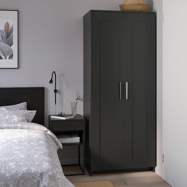BRIMNES Wardrobe with 2 doors, black, 78x190 cm