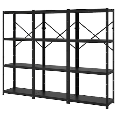 BROR Shelving unit, black, 254x40x190 cm