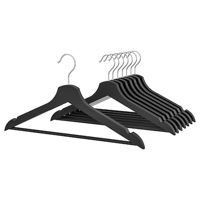 BUMERANG hanger black 43 cm 14 mm 8 pack