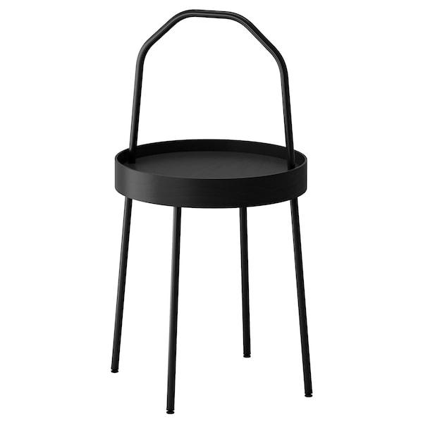 BURVIK Side table, black, 38 cm