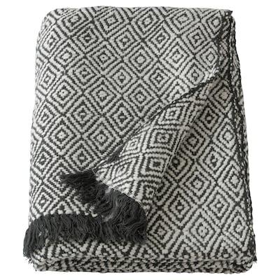 DAGFRID Throw, dark grey/off-white, 150x200 cm