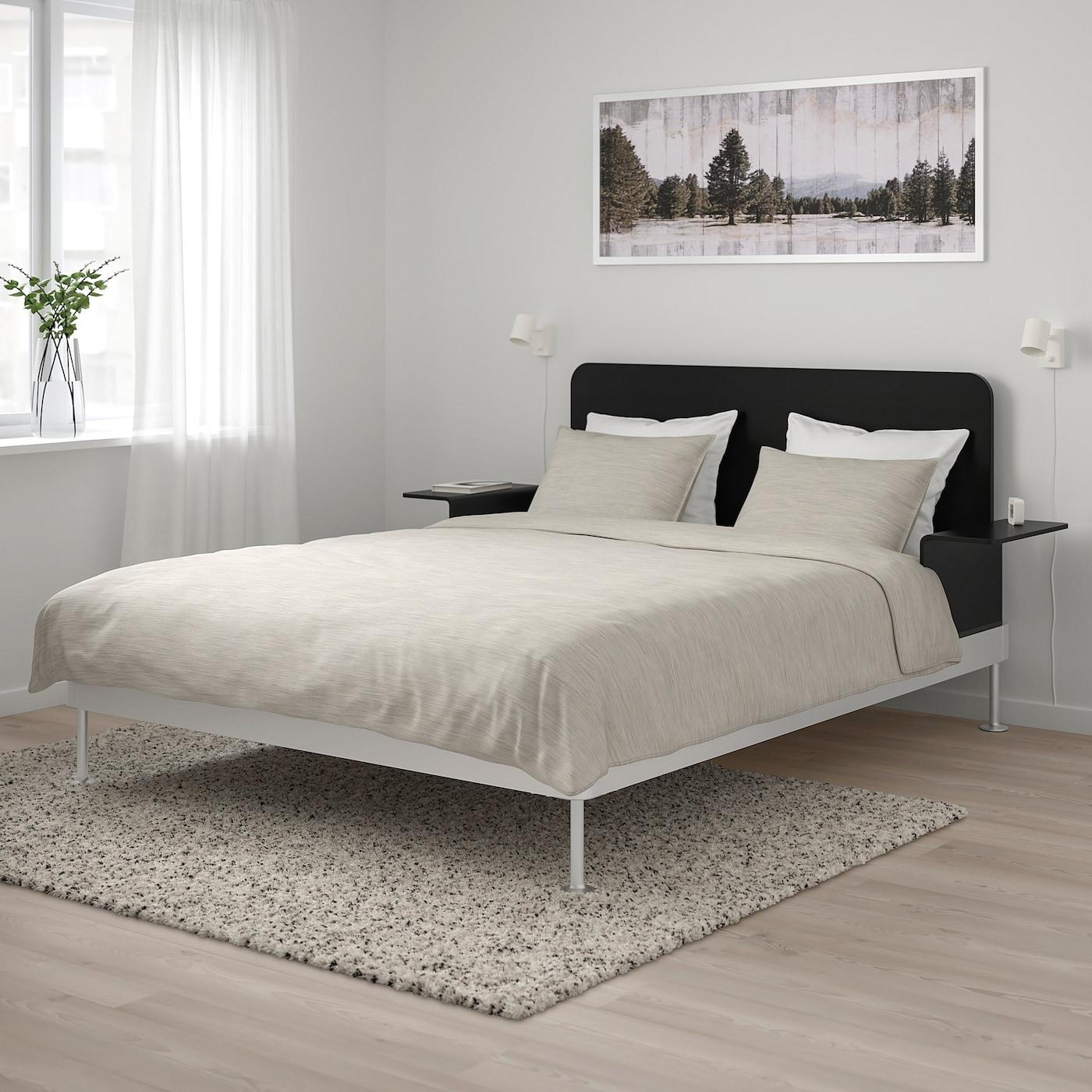 Delaktig Bed Frame Headboard 2 Side Tables Aluminium Black Ikea