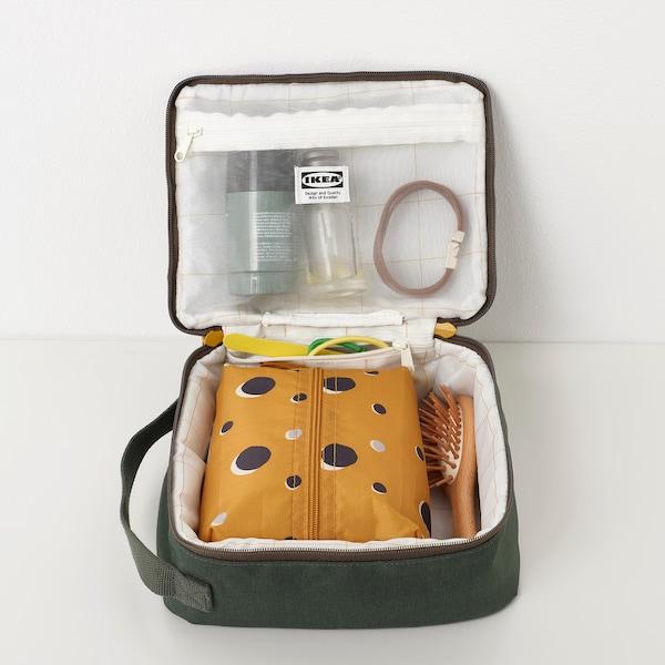 DRÖMSÄCK Toiletry bag, olive-green, 4 l