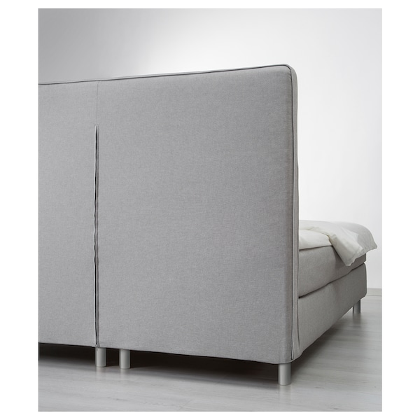 DUNVIK Divan bed, Hövåg firm/Tuddal light grey, 160x200 cm