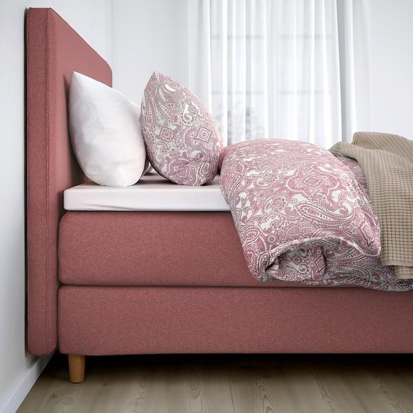 DUNVIK Divan bed, Hövåg medium firm/Tustna Gunnared light brown-pink, 160x200 cm