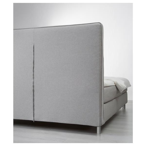DUNVIK Divan bed, Hövåg medium firm/Tustna light grey, 140x200 cm