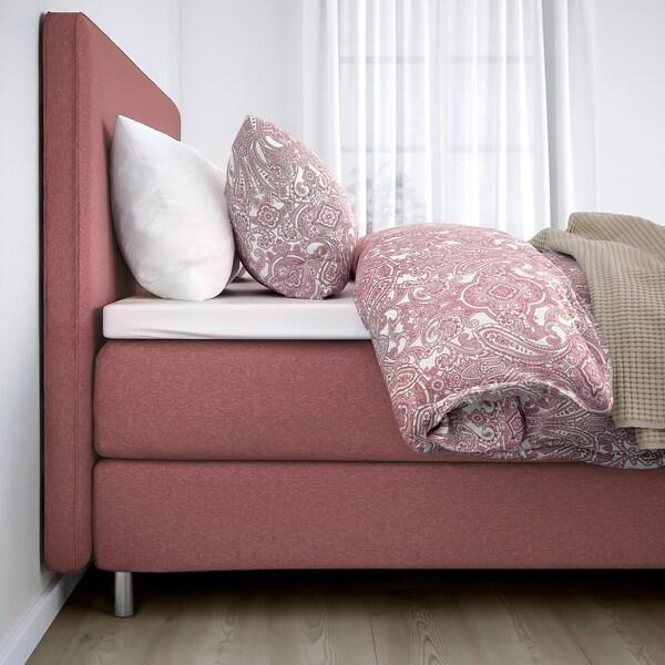 DUNVIK Divan bed, Hyllestad firm/Tussöy Gunnared light brown-pink, 140x200 cm