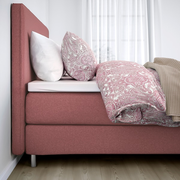 DUNVIK Divan bed, Hyllestad medium firm/Tussöy Gunnared light brown-pink, 180x200 cm