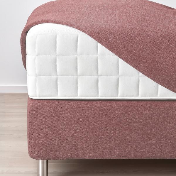 DUNVIK Divan bed, Hyllestad medium firm/Tussöy Gunnared light brown-pink, 140x200 cm