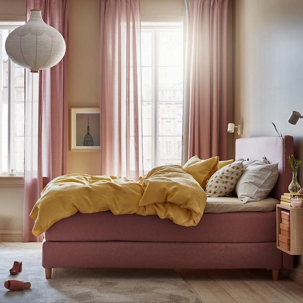 DUNVIK Divan bed, Hyllestad medium firm/Tustna Gunnared light brown-pink, 180x200 cm