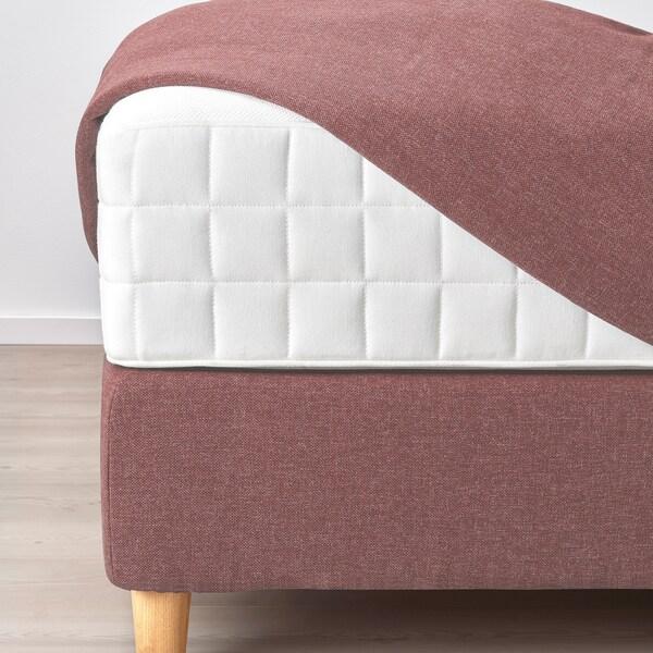 DUNVIK Divan bed, Hyllestad medium firm/Tustna Gunnared light brown-pink, 160x200 cm