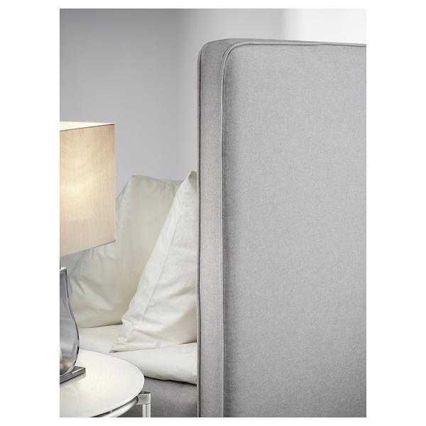 DUNVIK Divan bed, Hyllestad medium firm/Tustna light grey, 180x200 cm