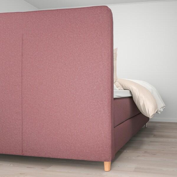 DUNVIK Divan bed, Vatneström medium firm/Tistedal Gunnared light brown-pink, 140x200 cm