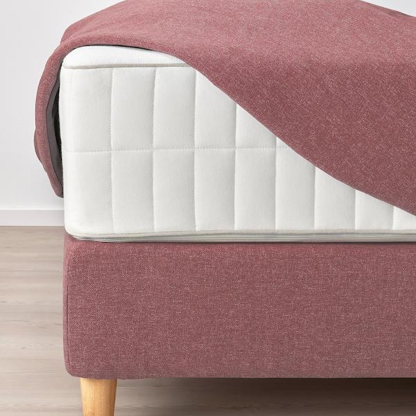 DUNVIK Divan bed, Vatneström medium firm/Tistedal Gunnared light brown-pink, 160x200 cm