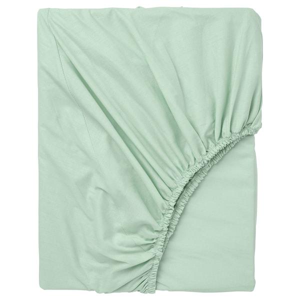 DVALA Fitted sheet, light green, 140x200 cm