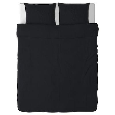 DVALA Quilt cover and 2 pillowcases, black, 200x200/60x70 cm