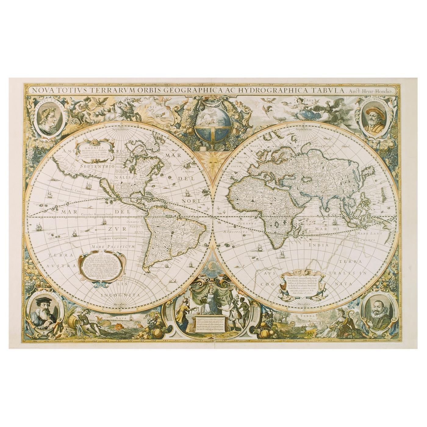 Super EDELVIK Poster - vintage world map - IKEA WF-08