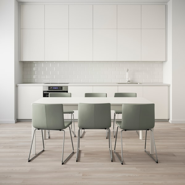 EKEDALEN / BERNHARD Table and 6 chairs, white, 180/240 cm
