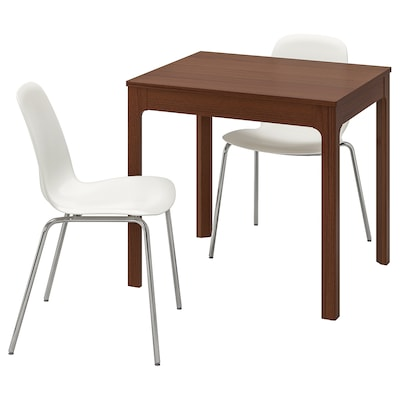 EKEDALEN / LEIFARNE table and 2 chairs brown/white 80 cm 120 cm