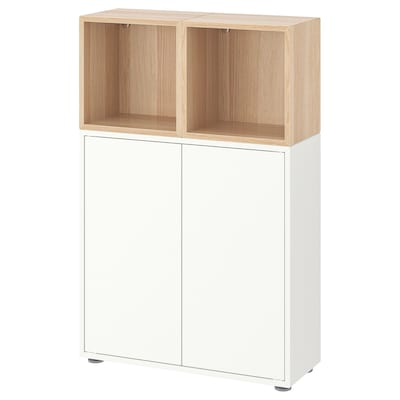 EKET Cabinet combination with feet, white/white stained oak effect, 70x25x107 cm