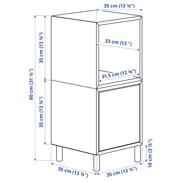 EKET Cabinet combination with legs, white/wood, 35x35x80 cm