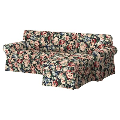 EKTORP 3-seat sofa with chaise longue/Lingbo multicolour 252 cm 88 cm 88 cm 163 cm 45 cm