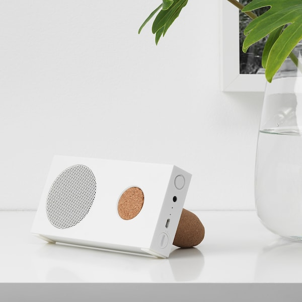 ENEBY Portable bluetooth speaker, white, 15x7.5 cm