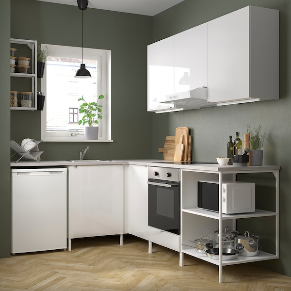Enhet Corner Kitchen White High Gloss White Ikea