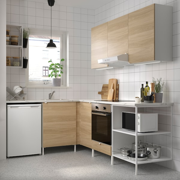 Enhet Corner Kitchen White Oak Effect Ikea