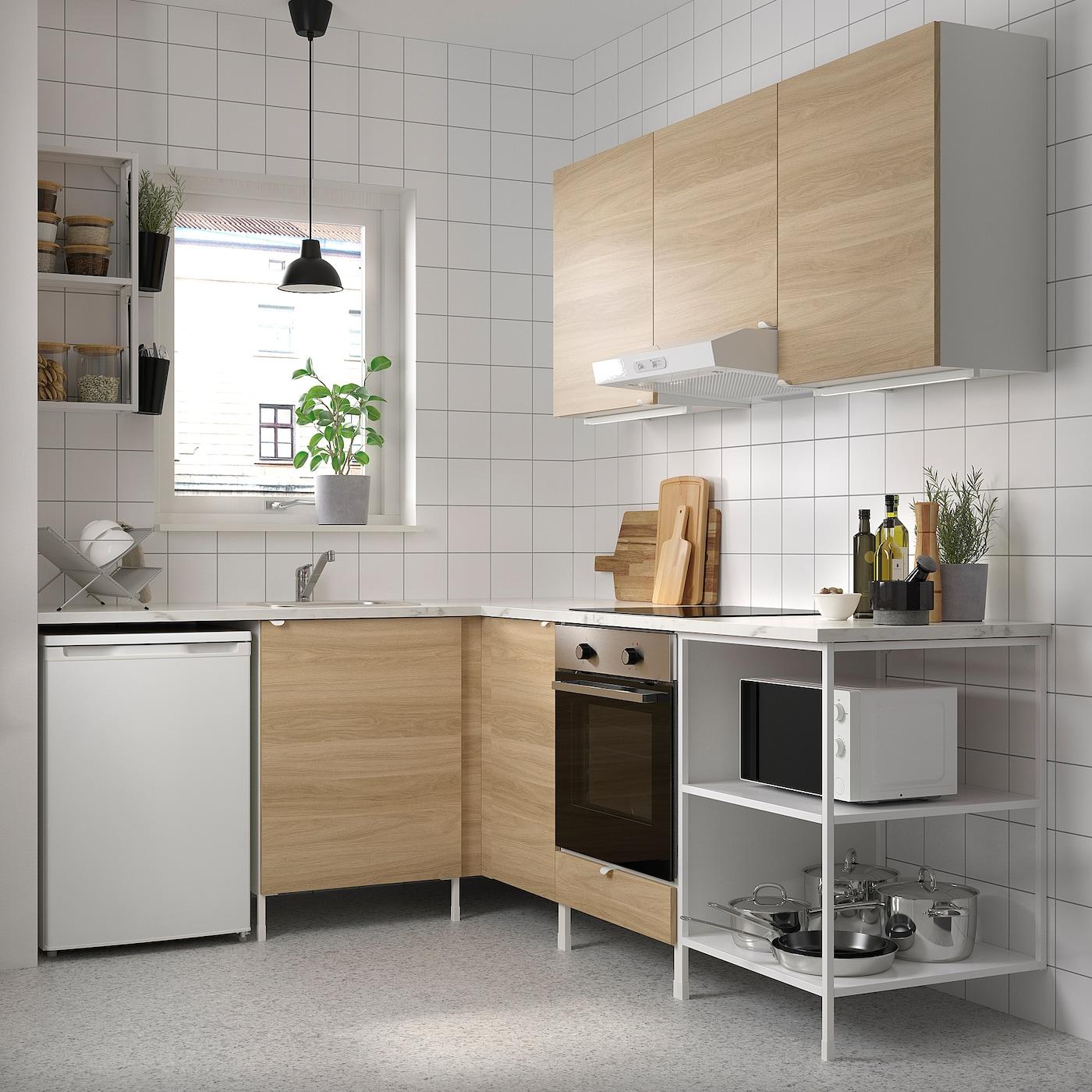 Enhet Corner Kitchen White Oak Effect Ikea